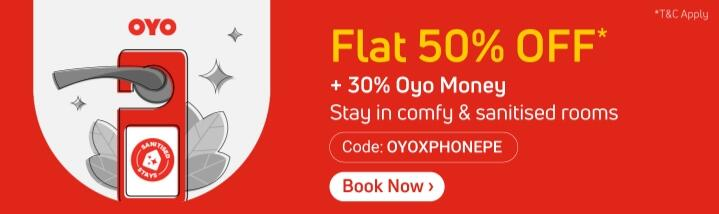 Flat 50% Off* on OYO bookings & Additional ly 30% OYO money