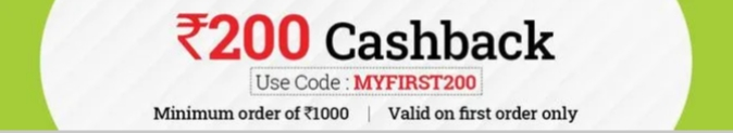 Big basket offers first time users:Rs. 200 cashback on a minimum purchase of Rs.1000 and above
