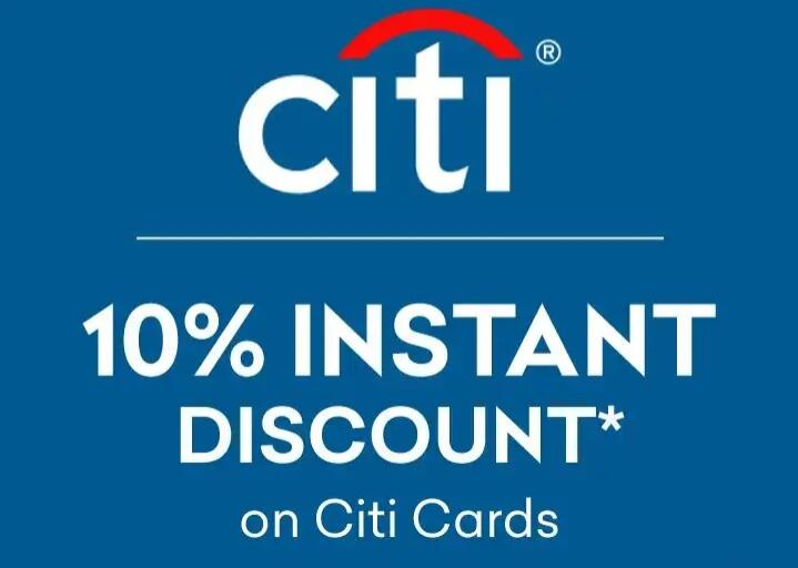 Flat 10% instant discount with Citi bank Credit and debit cards